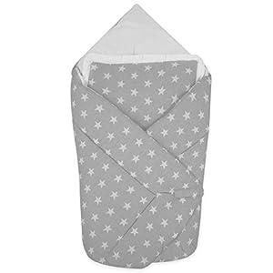 BlueberryShop manta de algodón para bebés con almohada | Saco de dormir para bebés recién nacidos | Regalo perfecto para Baby Shower | 78 x 78 cm | Grises Estrellas