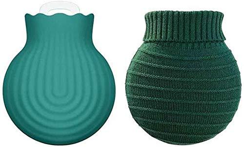 Draagbare thermosfles-siliconenliner met moffen-magnetron-verwarming koel-explosiebescherming explosiebestendig decompressiegereedschap voor hete en koude therapie (groen) (upgrade)