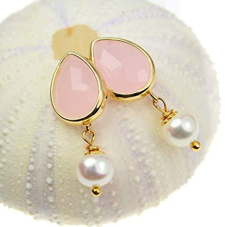 Ohrringe Perlen - Ohrstecker rosa Perlenohrringe Tropfenform rosa echte Süßwasserperlen