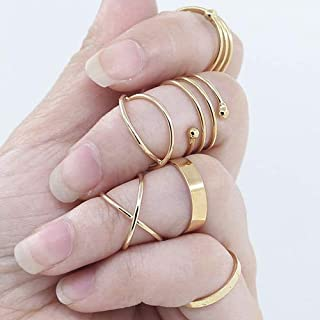 6Pcs/Set Women Golden Tone Stack Plain Slim Band Midi Ring Spiral Knuckle Rings(US 6)