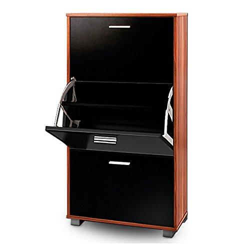 Deuba Zapatero Negro Merano con 3 estantes Ajustables 115x60x24 cm con manijas Mueble para Zapatos hasta Talla 45 Interior