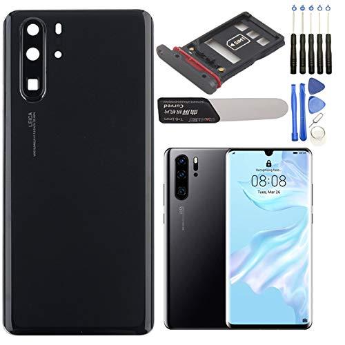 YHX-OU - Tapa de batería trasera de repuesto para Huawei P30 Pro, incluye herramienta de instalación y 1 tarjeta SIM SIM (azul Aurora)