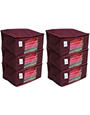 "Kuber Industriesâ""¢ Non Woven Saree Cover/Saree Bag/Storage Bag Set of 6 Pcs (Maroon) 90 GSM Fabric (Can Keep Upto 15 Sarees)"