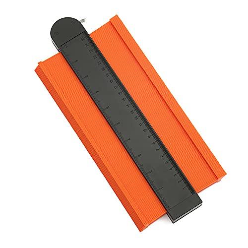 Medidor de Contornos con Bloqueo, 25cm Ensanchado Copiador de Contornos Ajustable Herramienta Carpintería Plastico ABS Medidor de Perfil Duplicador para Precisa Medir Forma Irregular Naranja