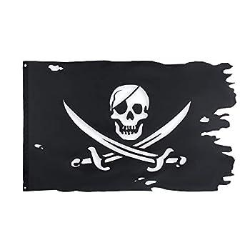 FLAGLINK Jack Rackham Flag 3x4.8Fts Broadsword Old Skull Bones Pirate Banner Creepy Ragged