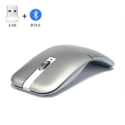 NORMIA RITA Foldable Arc Wireless Mouse Silent Click Bluetooth 2.4GHz Dual Modes Portable Curved Mouse for Home, Office, Travel (Silver)