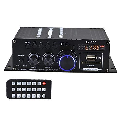 H HILABEE Amplificador de Potencia de Audio de 400W + 400W 2.0 CH para Coche, Casa, Garaje, CD, MP3
