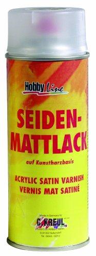 Kreul 830150 - Seidenmattlack auf Acrylbasis, farblos, nicht gilbend, universell einsetzbarer seidenmatt trocknender Schutzlack für Pappe, Holz, Glas, Porzellan, Keramik, 150 ml Sprühdose