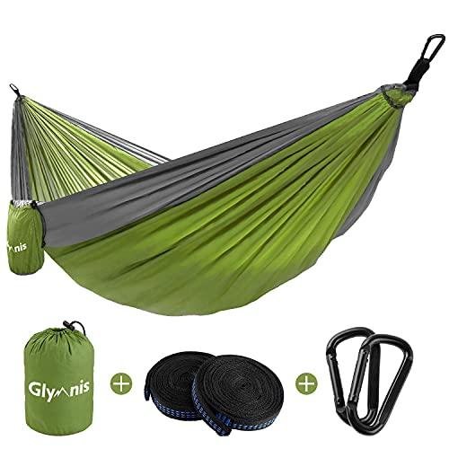 Glymnis Amaca da Giardino Amaca da Campeggio Capacità di Carico 300kg con Kit di Fissaggio Tessuto 210T 300x200 cm per Campeggio Giardino Escursioni Verde-Grigio