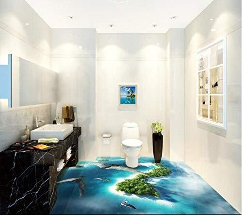 3D-PVC-Boden Benutzerdefinierte wasserdichte selbstklebende Ozeanien fliegende Flugsaurier 3D-Badezimmerboden 3D-Wandmalerei Wallpaper-200Cmx140Cm