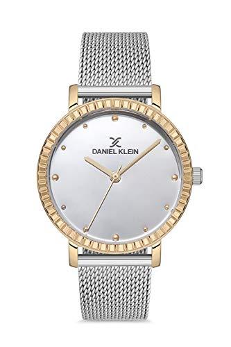 Daniel Klein Reloj de pulsera para mujer (DK12532) - Correa de malla - Relojes analógicos de moda para mujer - Movimiento de cuarzo japonés - Bisel texturizado, índice de puntos, muchos colores