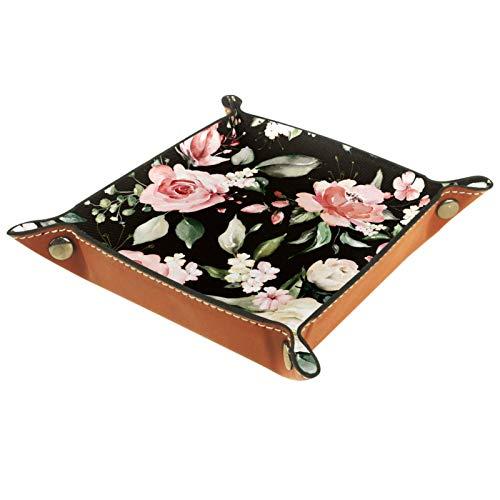 Bandeja de joyería de flores de color negro y rosa, bandeja de valet de piel sintética para hombres o mujeres Key Wallet caja de monedas de viaje valet bandeja