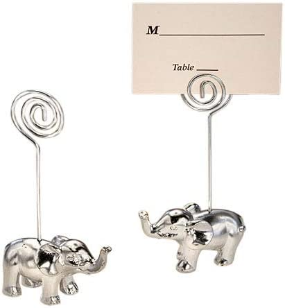 Set of 6 Wedding Asian Theme Decor Elephant Card Holders Gold Resin Seating Photo Place Card Holders MW34368 Buffet Menu Display