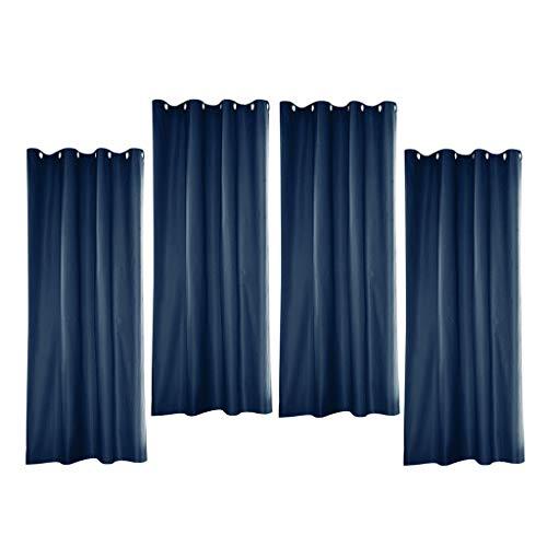 perfk 4 Cortinas de Interior Al Aire Libre con Protección UV para Pérgola de Patio, Cortinas Azules