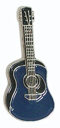 Anstecknadel aus Metall, Emaille, Rock, Folk, Country, Musik, Akustikgitarre, Blau