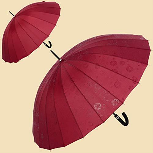 CNNRug ParaguasMango Largo Paraguas 24 Bone Viaje Paraguas a Prueba de Viento Impermeable de los Hombres y Las Mujeres Paraguas Plegable Paraguas automático de floración en Agua,Rojo