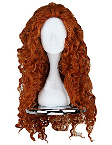Price comparison product image Angelaicos Women's Fluffy Wavy Party Halloween Costume Merida Wig Long Brown