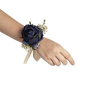 Silk Flower Arrangements Bridals By Ada Melpomene Handmade Artificial Flowers, Corsage Wristlet, Burgundy Flowers for Rustic Wedding Theme (Dark Blue)