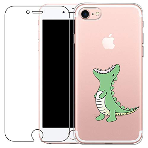 blossom01 iPhone 7 / iPhone 8 Hülle mit Hartglas Displayschutz, Cute Funny Kreative Cartoon Transparent Silikon Bumper für iPhone 7 2016 / iPhone 8 2017 - Grünes Krokodil