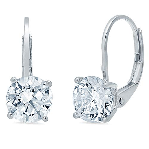 4.0 CT Brilliant Round Cut Simulated Diamond CZ Solitaire Drop dangle Lever Back Earrings 14K WHITE Gold