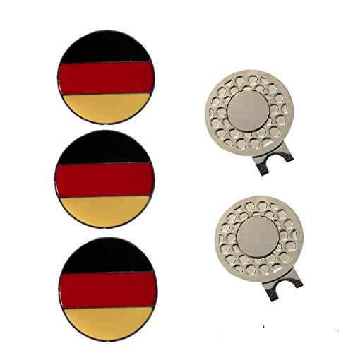 FINGER TEN Golf Ball Marker Hat Clips Magnetisch Set of 3/4/5/6 Stück Geschenk Mütze Clips mit Ballmarker oder nur Cap Clip Anzug Für Herren Damen Kinder (2 Hat Clips+3DE Ball Markers)
