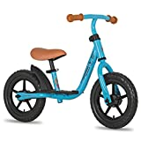 JOYSTAR 10 Inch Kids Balance Bike with Footrest for Child Girls 10' Glider Slider Bikes No Pedal Bicycle Training Bikes for 18 Months 2 3 4 Years Children Birthday Gifts Blue