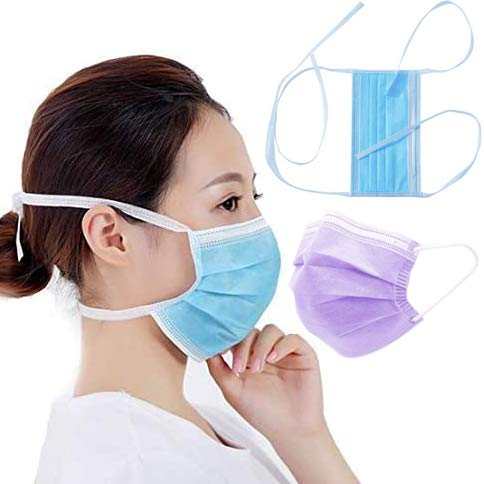 Gokeop 3-Ply Disposable Tie Band Face Protection that Tie Around Gead Not Ears, Adjustable Unisex Adult, Relieve Ear Pressure, Dust and Pollution, Tie Back of Head and Neck (100, Blue+Purple)