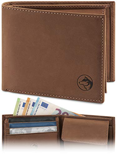 Geldbörse Herren Leder 'Norge' – Tri-Fold Herren-Portemonnaie RFID-Blocker – 6 Karten-Fach, Ausweis-Fach, Großes Zusatzfach, Scheinfach, Kleingeldfach – Swedish Brown