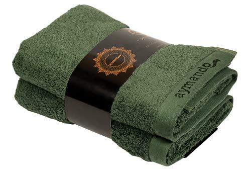 Aymando Scheich Collection - Asciugamani in cotone egiziano Giza 86, 50 x 100 cm, 2 pezzi, 50 x 100 cm, colore: Verde oliva