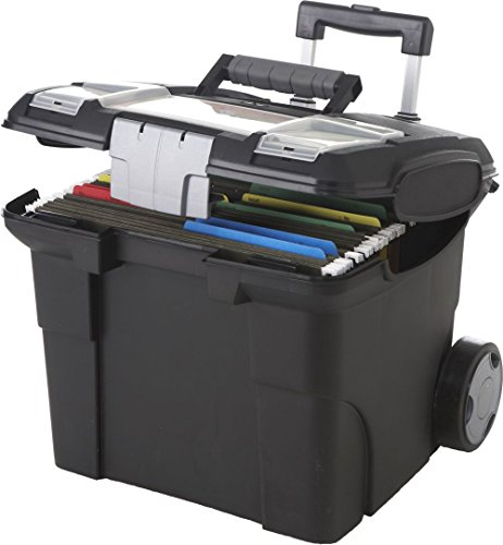 Black Portable Letter-Sized File Box On Wheels - Dimensions: 16W x 15D x 14.25H Weight: 7 Lbs, Polypropylene Construction Combined w/Wheels & Long Handle