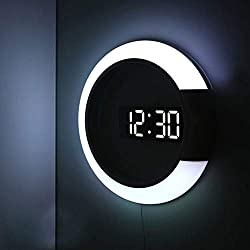 SIXHOUSE Led Light Wall Clock,Creative Remote Control Digital Clock Hollow Mirror Temperature Alarm 7 Color Change Ring Night Light for Home Office Decoration