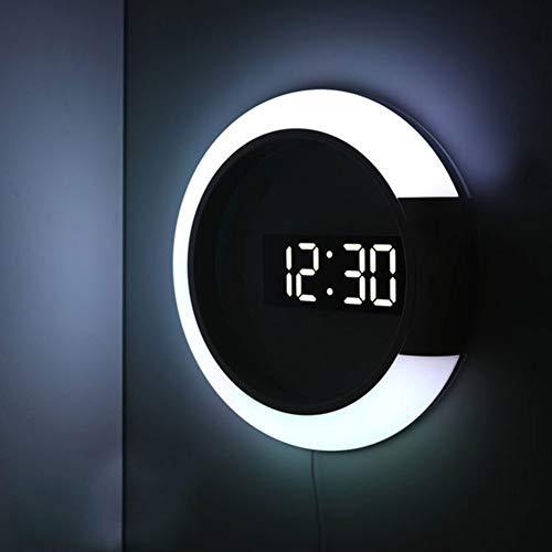TENGXI Reloj de Pared Creativo Digital Forma de Anillo con luz LED Espejo Hueco con Alarma/Temperatura Anillo de luz 7 Colores de conmutación con Mando a Distancia for el Dormitorio Mesita