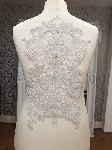 Kant Applique 3D Beaded Geborduurde Bloemen Strass Patches Geweldig voor DIY Neckline Lichaam Bruiloft Bruidsjurk A8 Puur wit