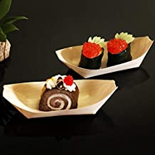 Linker Wish Disposable Wooden Plates 50pcs Disposable Wooden Sushi Tray Restaurant Food Serving Tray Fruit Tray Wedding Birthday Christmas Party Decoration