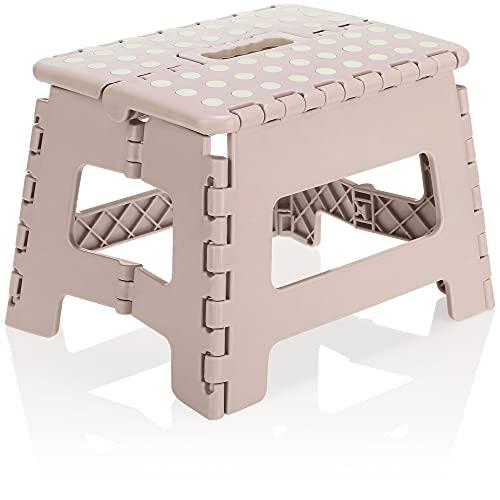 com-four® Escalón Plegable con Tacos de Goma - Taburete Plegable portátil con Capacidad de Carga de hasta 150 kg - Taburete Plegable para el hogar, la Cocina, el baño (29x22x22cm Rosa - 01 Pieza)