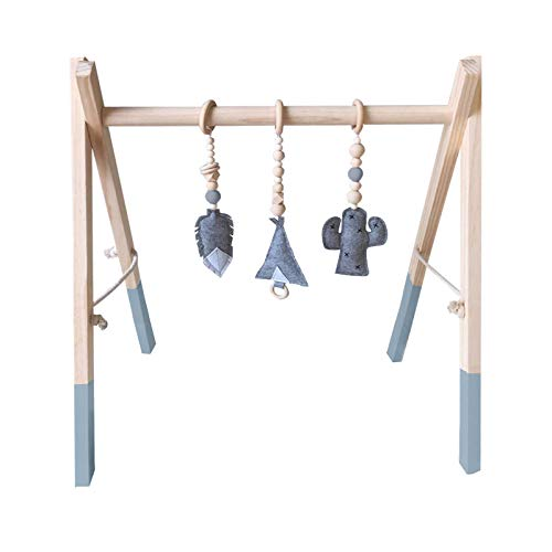 H.B.YE Portique d'activités Centre d'activités Jouet en Bois Jeux de Gymnastique société Gym de Jeu pour bébé + 3Pcs pendentifs Taille 60X43X40cm (B# Gris)