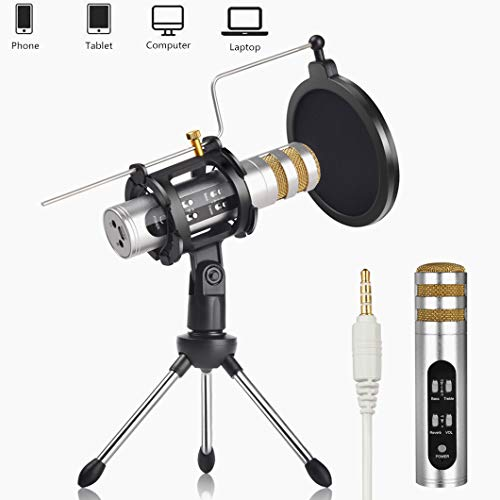 Voice Changer Microphone, REMALL Recording Microphone for Mobile iPhone Android iPad Tablet iOS Samsung, Condenser Microphone w/Stand Built-in Sound Card, Recording Karaoke Singing for Live Stream