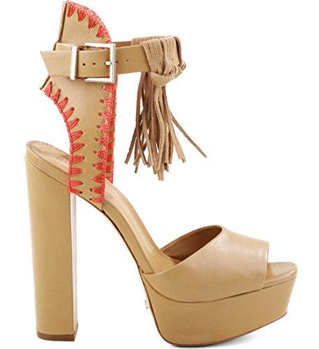 SCHUTZ Mirabella sandália de madeira clara nude salto alto peep toe plataforma detalhe de franja, Lightwood, 5