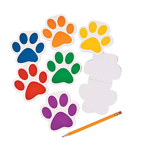 Fun Express Paw Print Notepads - 24 Pieces - Educational and Learning Activities for Kids