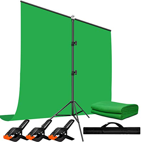 Heysliy Green Screen Backdrop with Stand Kit for Video,Zoom, 5 X 6.5 Ft Portable Chromakey Green Screen Kit with Stand for Streaming, Gaming