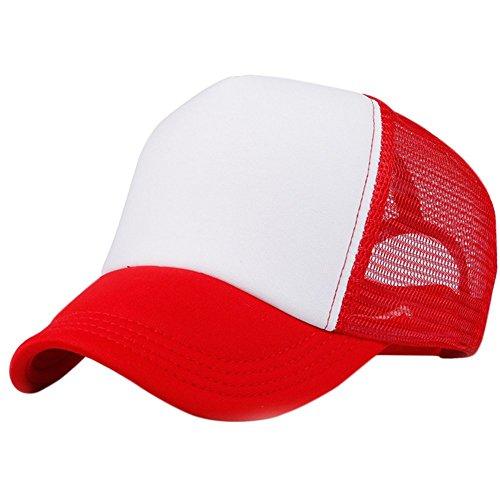 wicemoon verano Red Cap Luz Junta Cap gorro de camión en blanco publicidad Cap Red Hat, algodón, Rojo, cotton