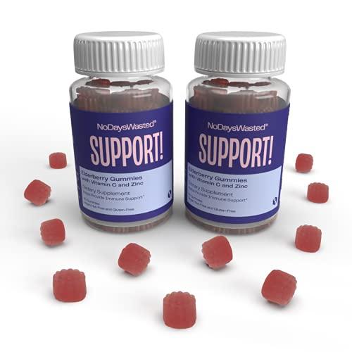 Immune Support Gummies - No Days Wasted - Sambucas Black Elderberry, Vitamin C and Zinc gummy - 3 in 1 Immunity Boost - Herbal Dietary Supplement - Vegan Plant Based, Gluten Free, Nut Free (120 Count)