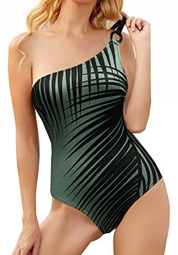 JKLN Traje de baño sexy para mujer, traje de baño de una pieza con estampado, traje de baño con una pieza ajustable. verde S