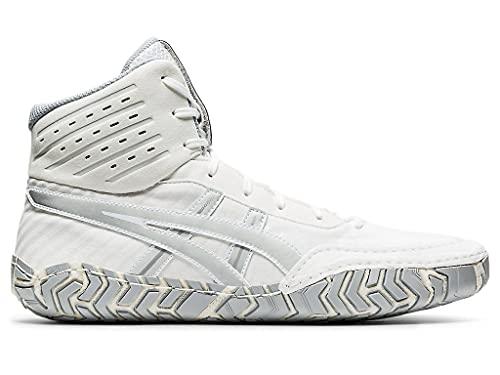 ASICS Men's Aggressor 4 Wrestling Shoes, 9, White/Pure Silver