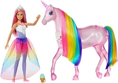 Barbie Dreamtopia Licorne rose Lumières Magiques avec crinière arc-en-ciel, sons et lumières, poupée princesse incluse, jouet pour enfant, FXT26