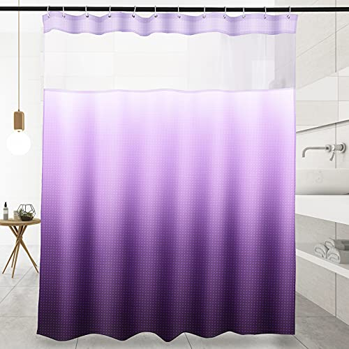 """Purple Shower Curtain,Ombre Textured Hook Free Shower Curtain for Bathroom, 71""""x71"""",See Through Top Window,Water Repellent, Weighted Hem, Machine Washable, Gradient Color Design (Purple Gradient)"""
