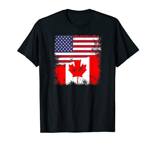Half Canadian Flag   Vintage Canada USA Gift T-Shirt
