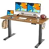 FAMISKY Standing Desk Dual Motors, Adjustable Height Electric Stand up Desk, 55 x 24 Inches Sit Stand Home Office Desk, Ergonomic Workstation Black Steel Frame/Rustic Brown Wood Tabletop
