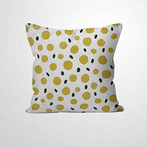EricauBird Funda de cojín con diseño de lunares, color amarillo y mostaza
