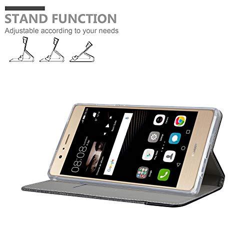 Cadorabo Hülle für Huawei P8 MAX - Hülle in GRAU SCHWARZ – Handyhülle mit Standfunktion und Kartenfach im Stoff Design - Case Cover Schutzhülle Etui Tasche Book - 3